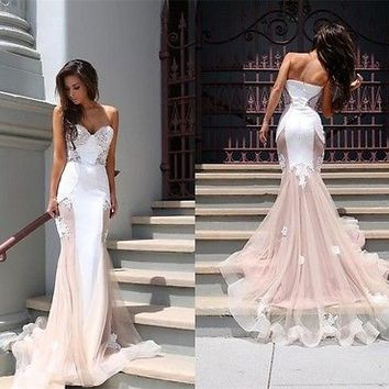 2016 Lace Long Formal Evening Dress Mermaid Celebrity Pageant Party Prom Gown