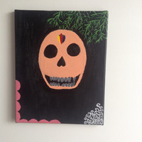 canvas acrylic painting Day of the dead skull, size 24 x 30 cm