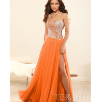 Terani 2014 Prom Dresses - Orange Crystal & Chiffon One Shoulder Prom Gown
