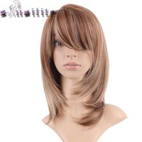 S-noilite Natural Hairline Glueless Heat Resistant Fiber Hair Wigs for Women Long Synthetic Brown blonde mix Non Lace Front Wig