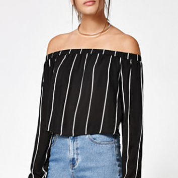 Kendall & Kylie Stripe Off-The-Shoulder Top at PacSun.com
