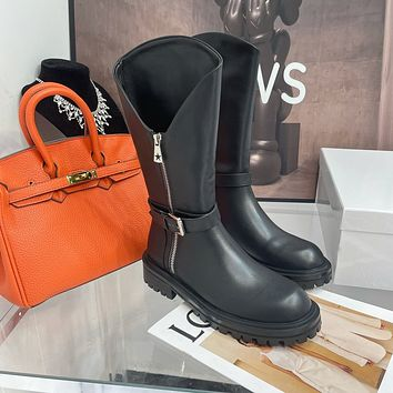 GIVENCHY2021Trending Women's men Leather Side Zip Lace-up Ankle Boots Shoes High Boots09190wk