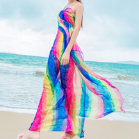 Scarves Summer Women's Long Striped Rainbow Print  Beach Swimsuit Cover Up