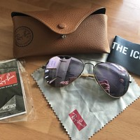 Womens Rayban Aviator Sunglasses with box