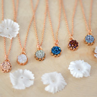 Dainty Rose Gold Druzy Necklace - 6mm Druzy Crown Bezel Necklace , Sparkly Necklace - Druzy Necklace  - Bridesmaid Gift