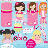 40% OFF SALE sleepover clipart for scrapbooking, commercial use, vector graphics, digital clip art, images, slumber party - PGCLPK521