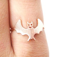 Adorable Bat Shaped Animal Themed Ring in Rose Gold Size 6 | DOTOLY