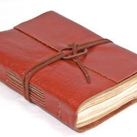 Light Brown Leather Journal with Tea Stained Paper - Ready to Ship -