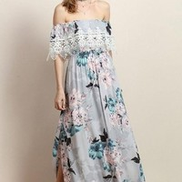 """Mayfield"" Dusty Grey Floral Maxi Dress"