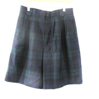 Vintage Wool Shorts. dark green and blue plaid / Lined, Pockets. womens 12