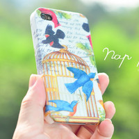 Apple iphone case for iphone iphone 5 iphone 4 iphone 4s iPhone 3Gs : Colorful vintage bird family
