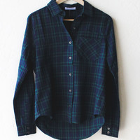 Plaid Flannel Shirt - Green/Navy
