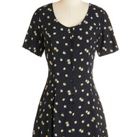 ModCloth Vintage Inspired Mid-length Short Sleeves A-line Before and Laughter Dress