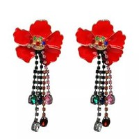 Beautiful Red Enamel Flower Statement Earrings
