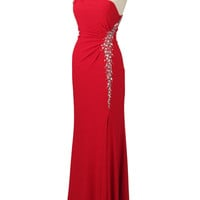 Red One Shoulder Jersey Goddess Gown- Elegant Evening Gowns