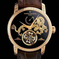 DCCK V046 Vacheron Constantin Dragons of China Hollow Leather Watchand Watch Maroon Gold