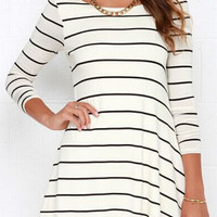 White V Back Stripe Print Dress Top