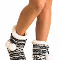 Raegan Fairisle Faux Fur Trim Christmas Slipper Boot in Blue