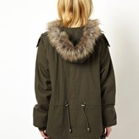 ASOS Short Cocoon Fur Trim Parka