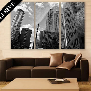 Black and White Wall Art EXTRA LARGE Canvas Print 3 Panel Art City Wall Art Wall Decor Fine Art Photography Print for Home & Office Wall Art
