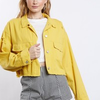 Color Pop Crop Denim Jacket