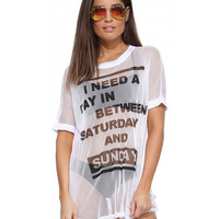 White Letter Print Short Sleeve Sheer Mesh Loose Graphic Tee