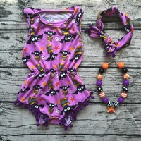 2016 top sale Baby Girl Boutique halloween outfits Romper newborn girl halloween baby outfit with headband necklace