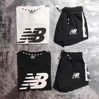 new balance nb women fashion short sleeve top shorts pants sweatpants set two piece sportswear