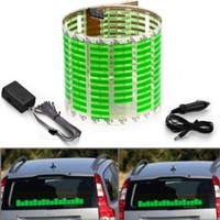 1 X 45x11cm DC 12V Sound Sensitive Music Beat Activated Car Sticker Equalizer Glow Green LED Light with Car Cigarette Charger Universal Decoration