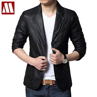 Spring & Autumn Men's Leather suits men fashion suit casual slim fit Leather Blazers