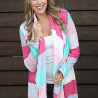Mint And Coral Color Block Cardigan