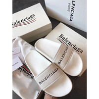 Kuyou Gx19711 Balenciaga Logo White Slippers For Men And Women