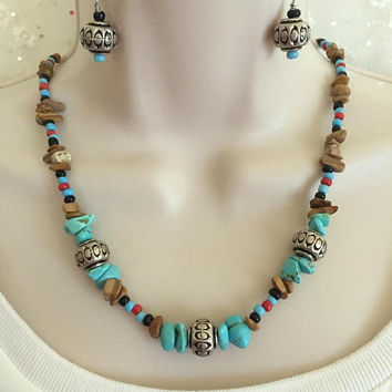 Southwestern Magnesite Necklace and Earring set, Semi-precious stone Jewelry, Southwestern Jewelry, Healing necklace, Earth tone necklace
