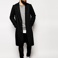 ASOS Wool Overcoat With Raw Edges at asos.com