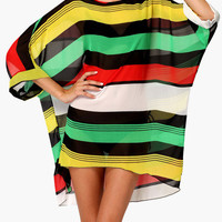 Multi Color Striped Mesh Cover-up