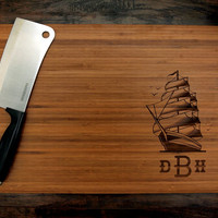 Personalized Cutting Board (Pictured in Amber), approx. 12 x 16 inches, Sailor, Monogram, Initials - Wedding gifts, Housewarming gifts
