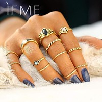 IF ME 12 PCS/Set Retro Vintage Gold Silver Color Knuckle Midi Rings Set For Women Female Bohemian Boho Rings Jewelry Accessories