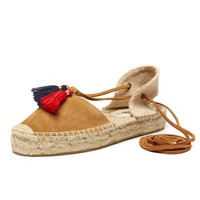 Soludos Tan Platform Gladiator for Women - Soludos Espadrilles