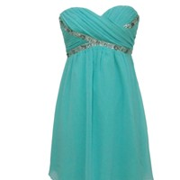 Mint Strapless Chiffon Dress with Sequin Diamante Detail