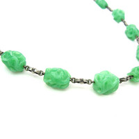 Art Deco Bead Necklace. Green Jade Glass Choker. 800 Silver Links. Lampwork Beads. Vintage 1930s Beaded Jewelry