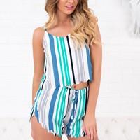 What It Could Be Striped Two Piece Set (Green/Blue)