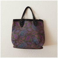 Vintage 70s Oversized Shopper Tote Leather Tapestry Paisley Print Top Handle Bag