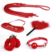 NEW 5pc whip blindfold handcuff foot mouth sealing ball collar cotton rope  wishagoodwish (Color: Red) = 1929984004