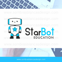 OOAK Premade Logo Design - Star Robot - Perfect for a robotics business or a blog about technology for kids