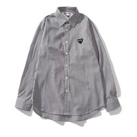 Comme des Garcons popular seller of striped long-sleeved shirts Gray