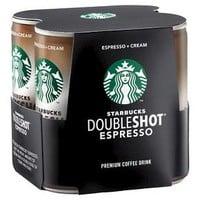 Starbucks Double Shot Espresso And Cream Coffee Drink 6.5 fl oz 4 pk