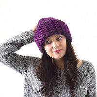 Double Brim Woman Knit Ombre Gradient Hat Beanie Toque | The Agatha