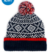 NAVY FAIRISLE PATTERN BEANIE - View All Christmas Gifts - Christmas Shop