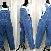 90s overalls / size L / womens bib overalls / denim overall jeans / wide leg / loose fit / Cherokee