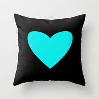 Blue Candy Heart Throw Pillow by M Studio